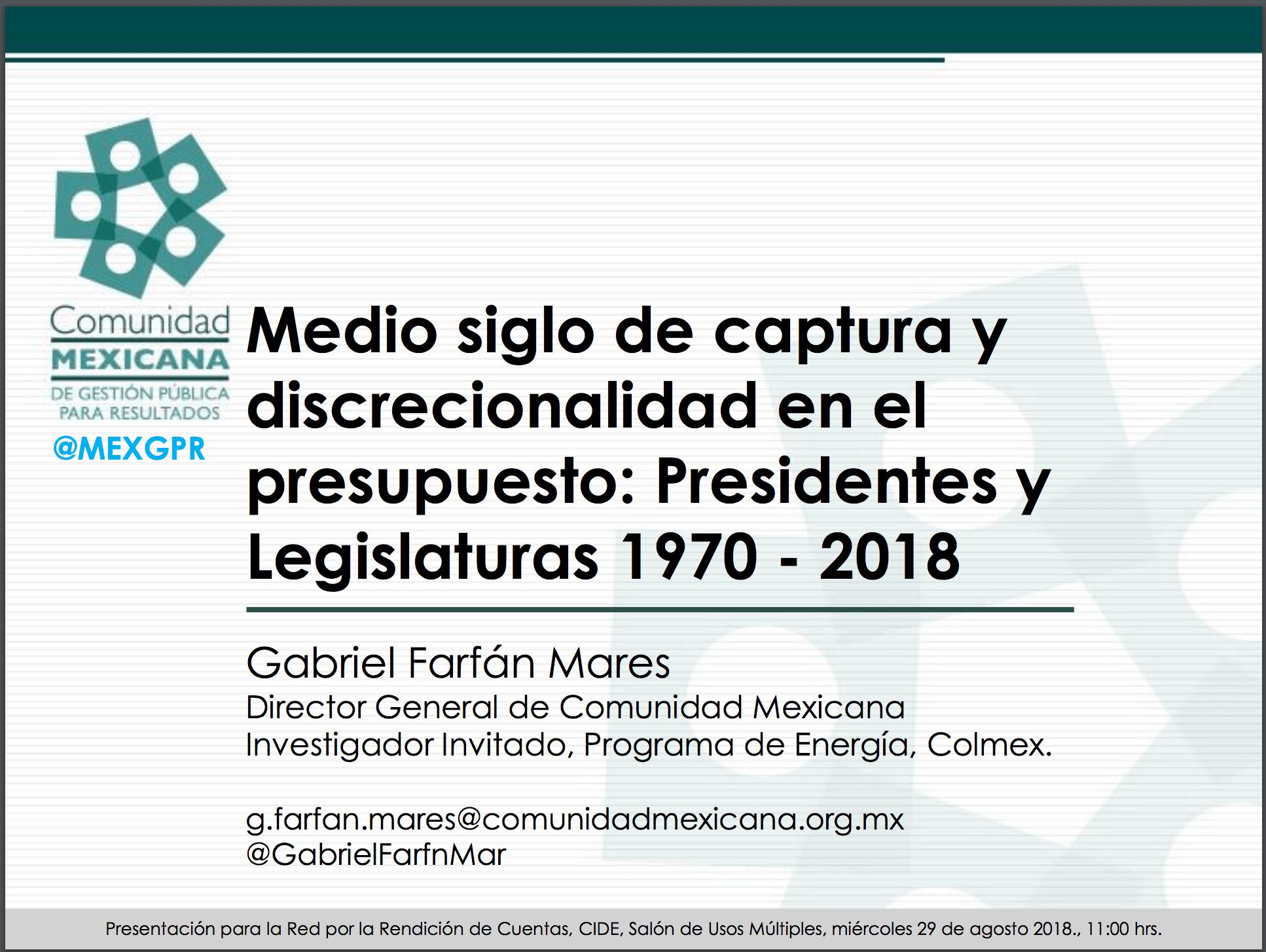 Imagen documento Medio siglo de captura y discrecionalidad en el presupuesto: Presidentes y Legislaturas 1970-2018